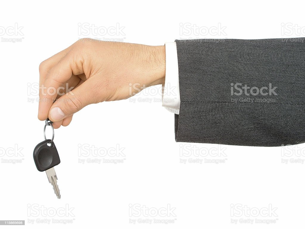 Businessman's Hand Holding Car Key royalty-free stock photo