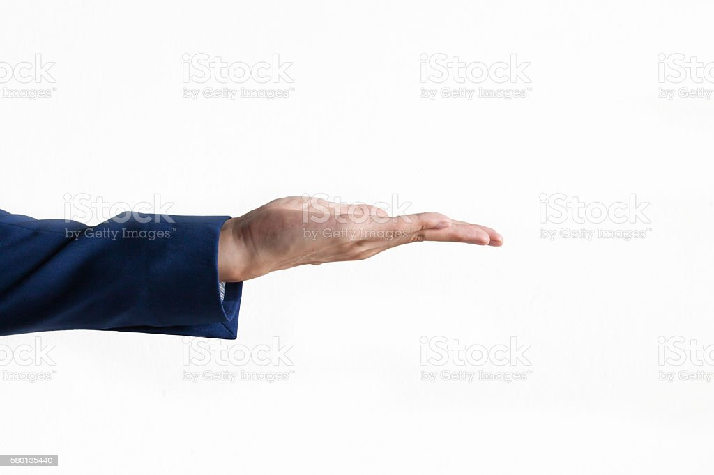 Businessman's hand on product presentation gesture stock photo