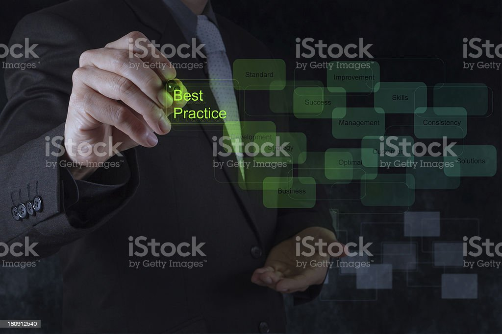 Businessmans hand shows best practice on virtual screen stock photo