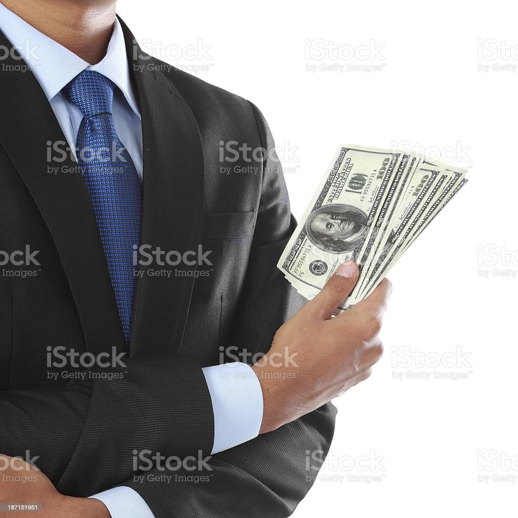 businessman's hand with money royalty-free stock photo