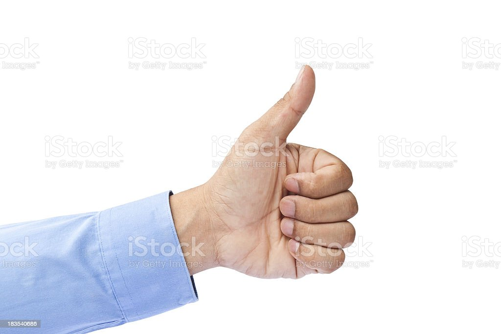 Businessman's hand with thumb up royalty-free stock photo