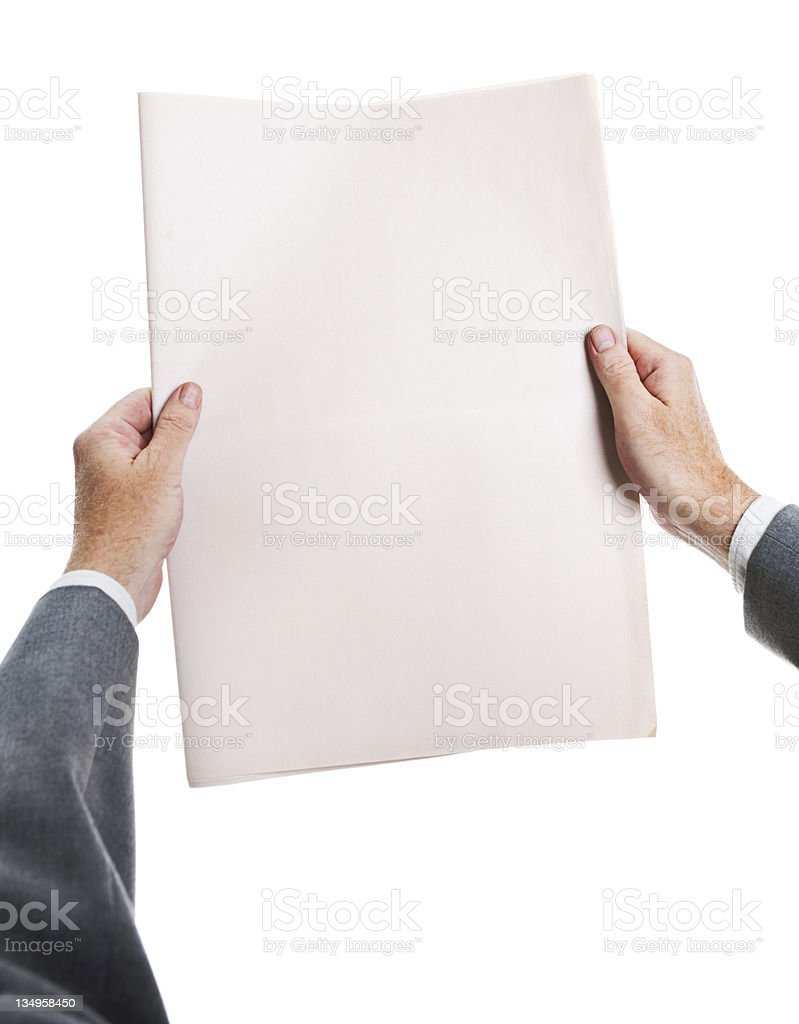 Businessman's hands hold blank newspaper ready for your headlines royalty-free stock photo