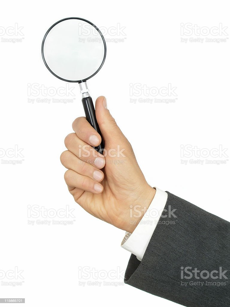 Businessman's Hands Holding Magnifying Glass royalty-free stock photo