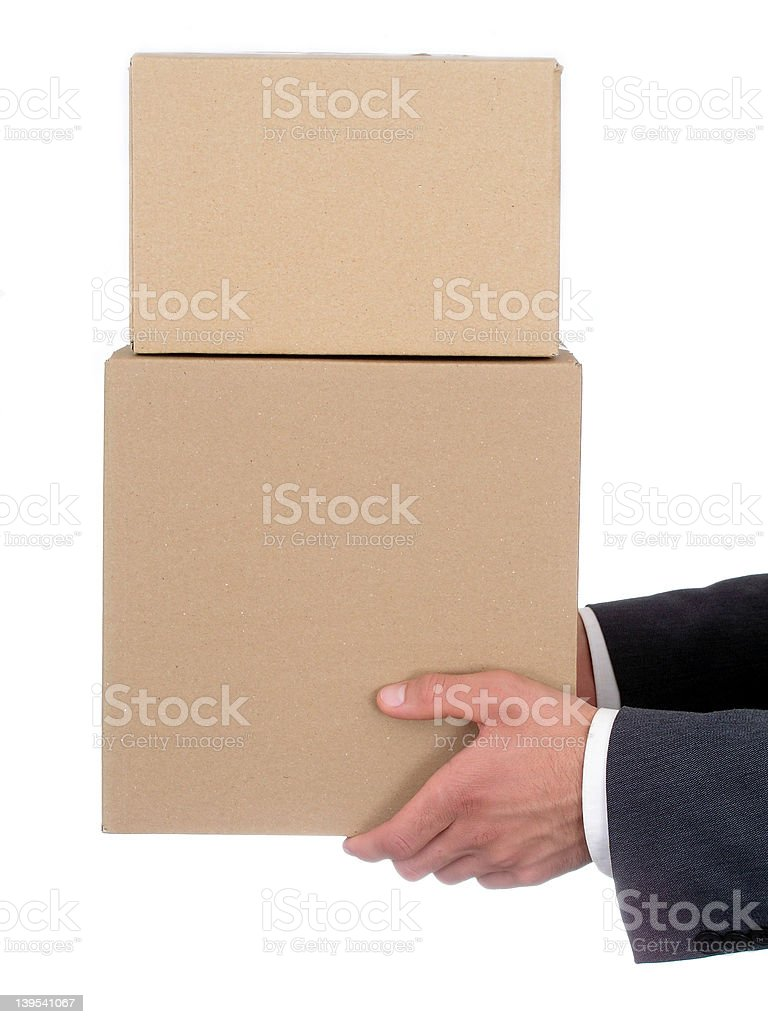Businessman's Hands Holding Packages royalty-free stock photo