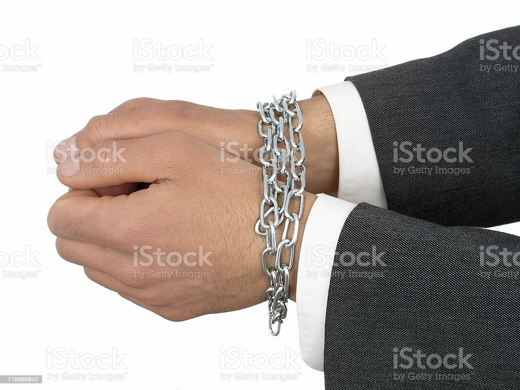 Businessman's Hands In Chains royalty-free stock photo