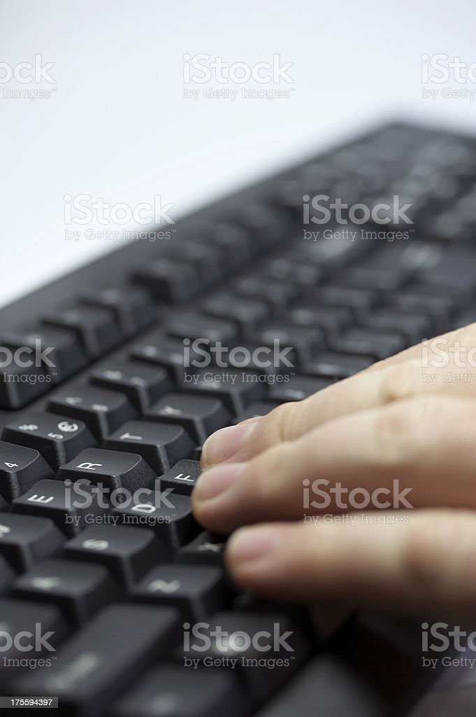 Businessman's hands on keyboard royalty-free stock photo