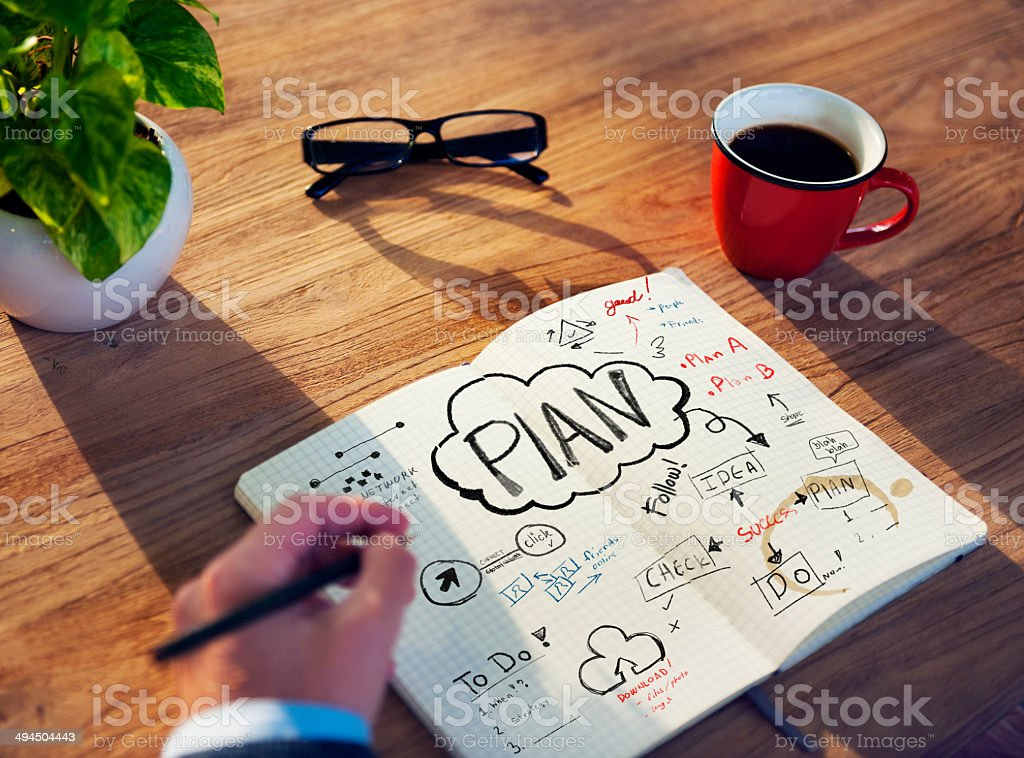 Businessman's table Planning Business Issue stock photo
