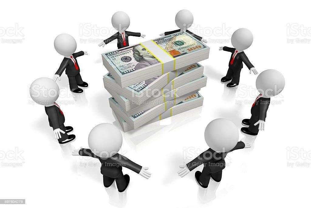 3D businessmen and 100 dollar bills stock photo