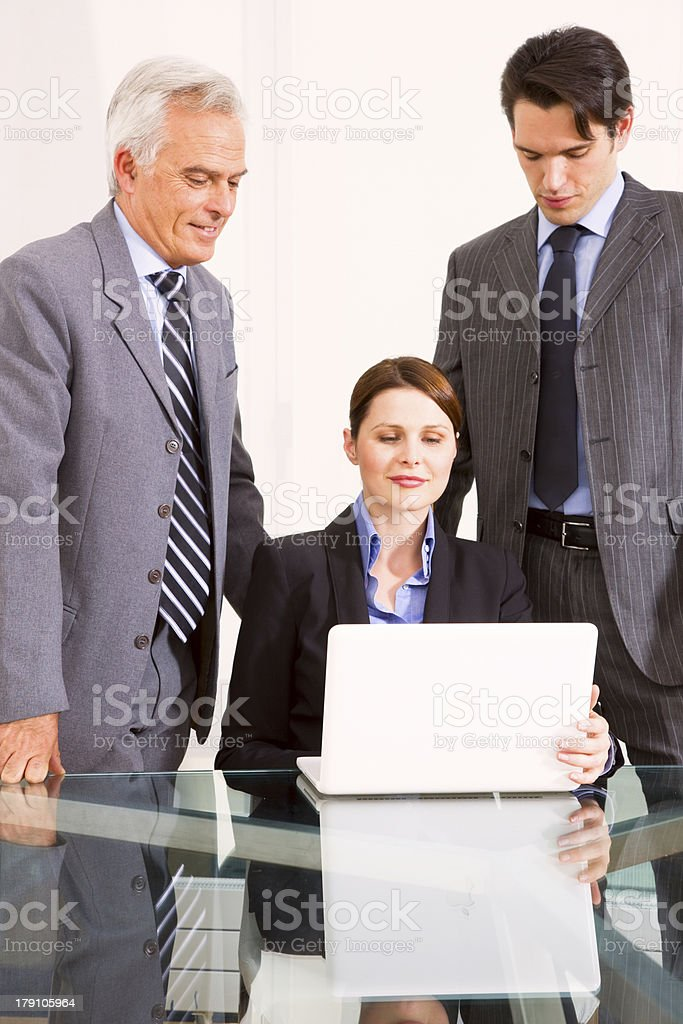 businessmen and businesswoman during a meeting royalty-free stock photo