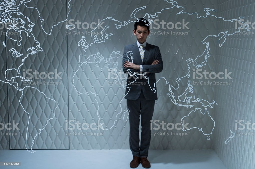 Businessmen are thinking about the global expansion of the company stock photo