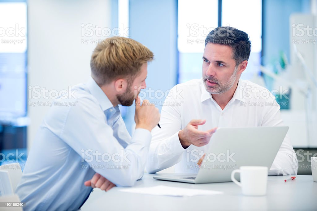 Businessmen discussing business project in modern office stock photo