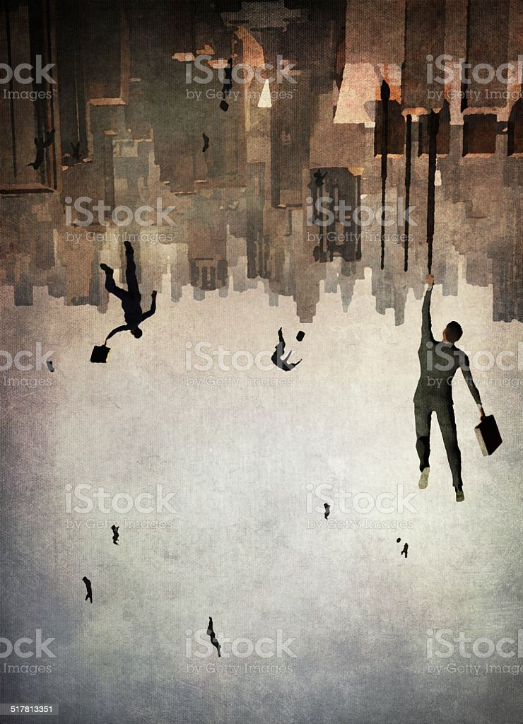 Businessmen falling vector art illustration