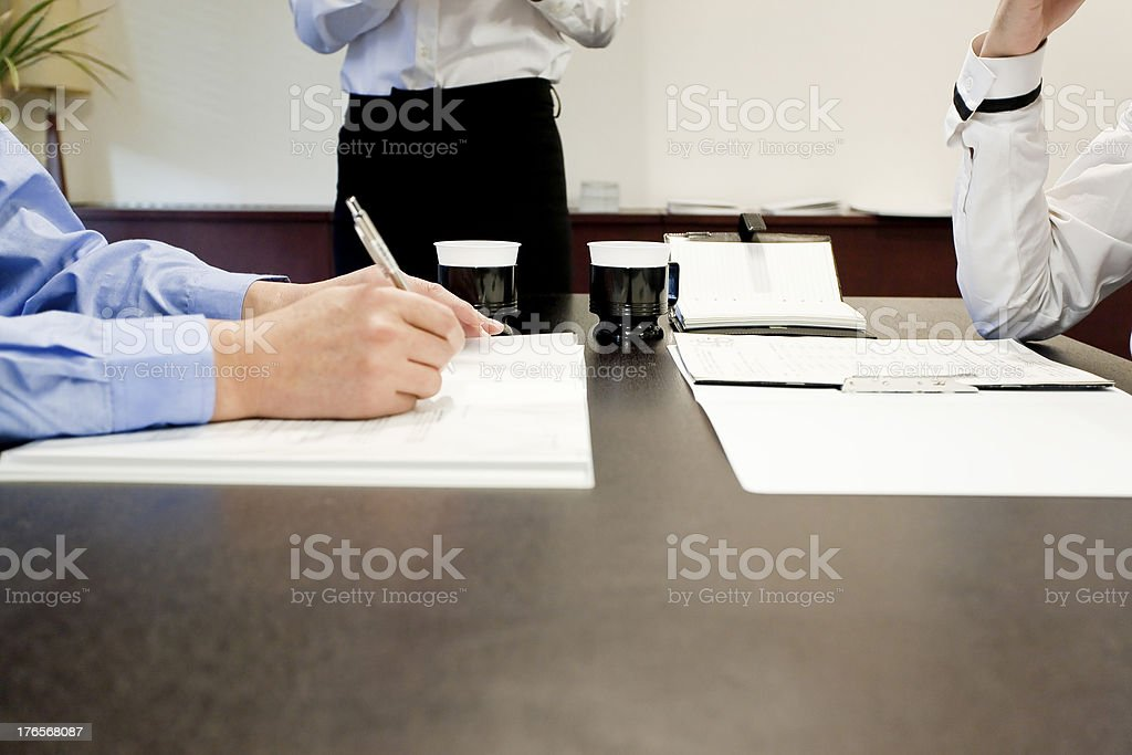 Businessmen holding a meeting stock photo
