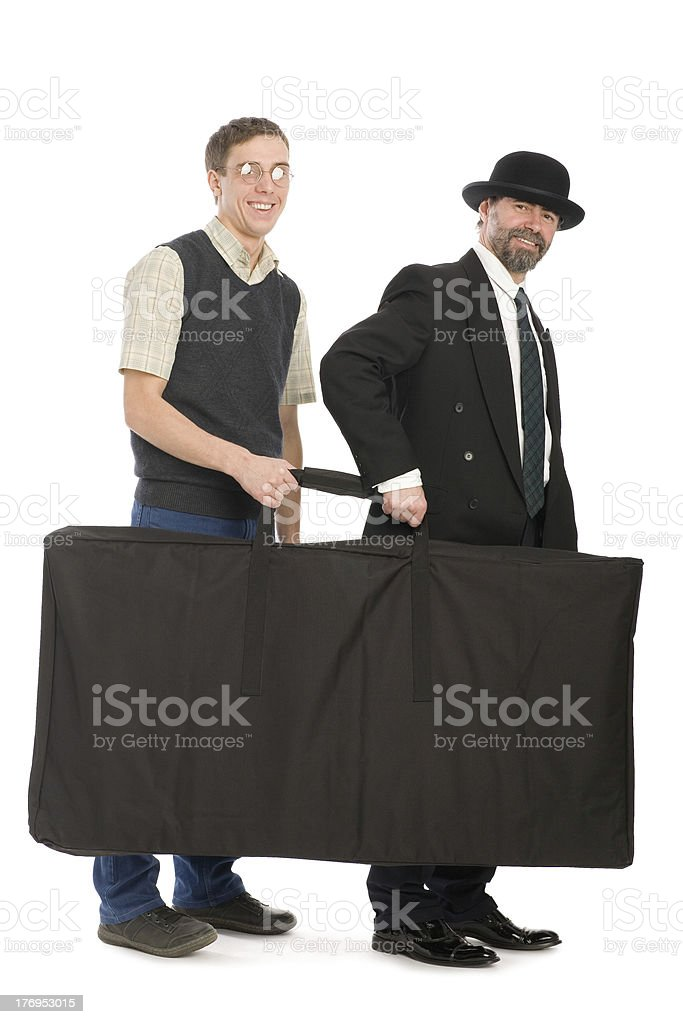 Businessmen holding the bag. royalty-free stock photo