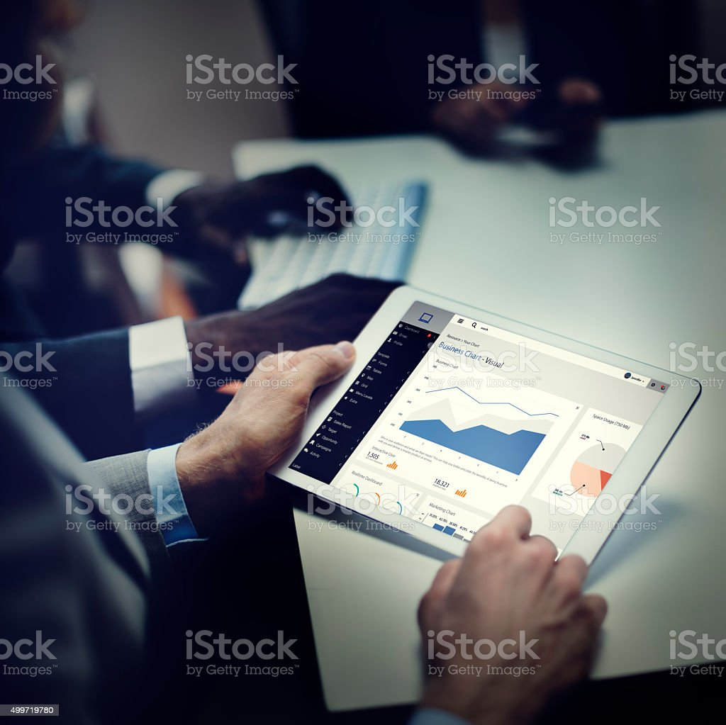 Businessmen Ideas Technology Tablet Concept stock photo