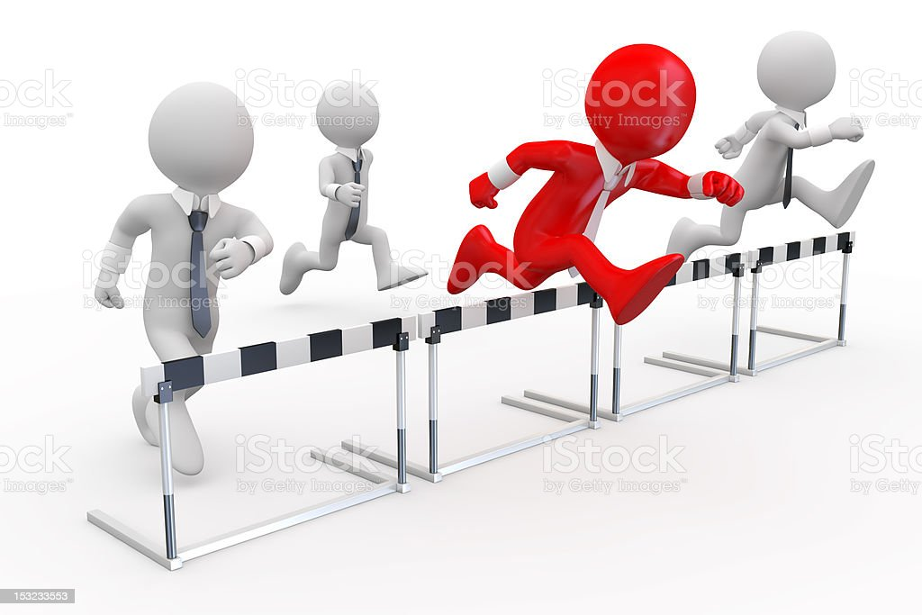 Businessmen in a hurdle race royalty-free stock photo