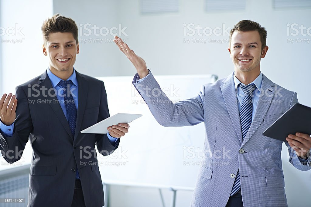 Businessmen in high spirits royalty-free stock photo