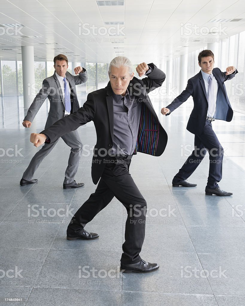 businessmen in martial art pose royalty-free stock photo