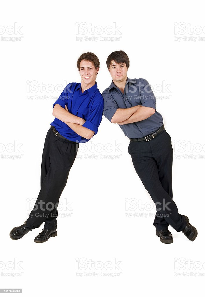 Businessmen leaning against each other royalty-free stock photo