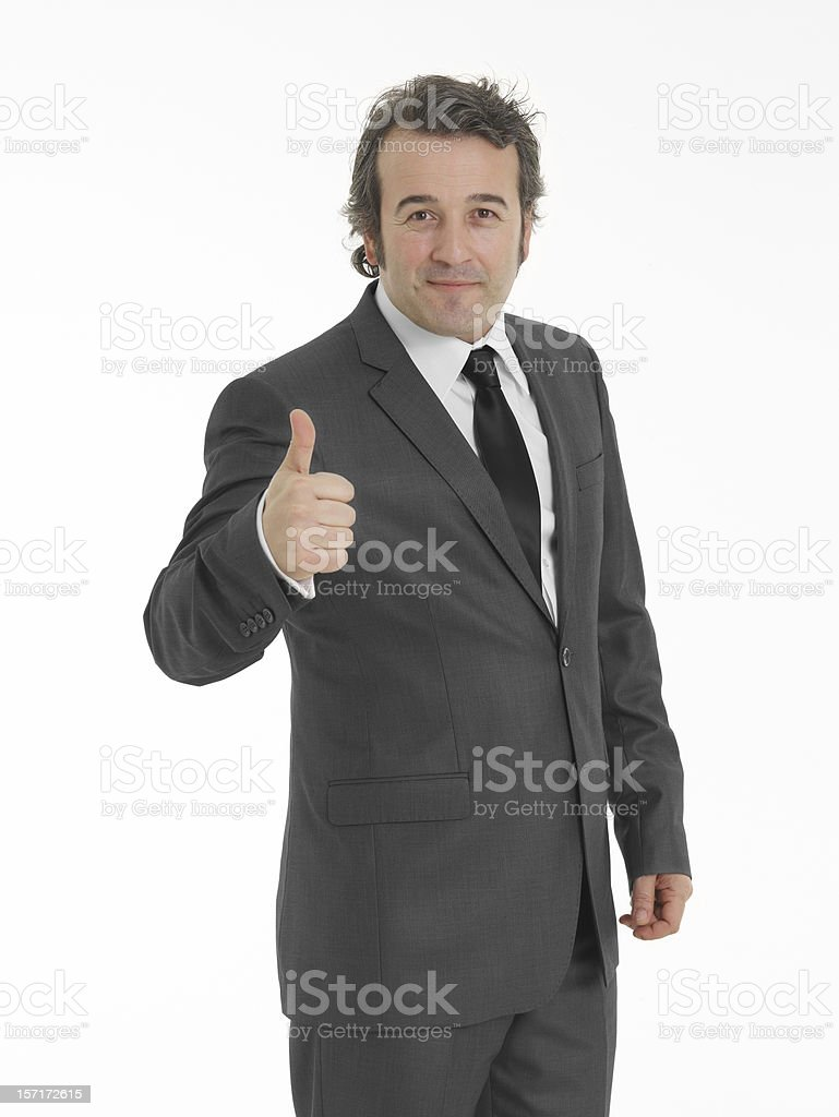 Businessmen making his thumb up saying OK stock photo