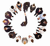 Businessmen Meeting Amongst a Circle of Businesspeople - Isolated