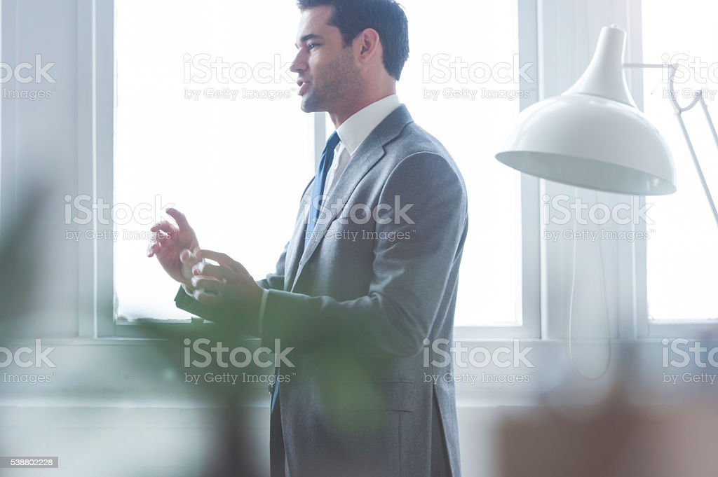 Businessmen meeting and talking. stock photo
