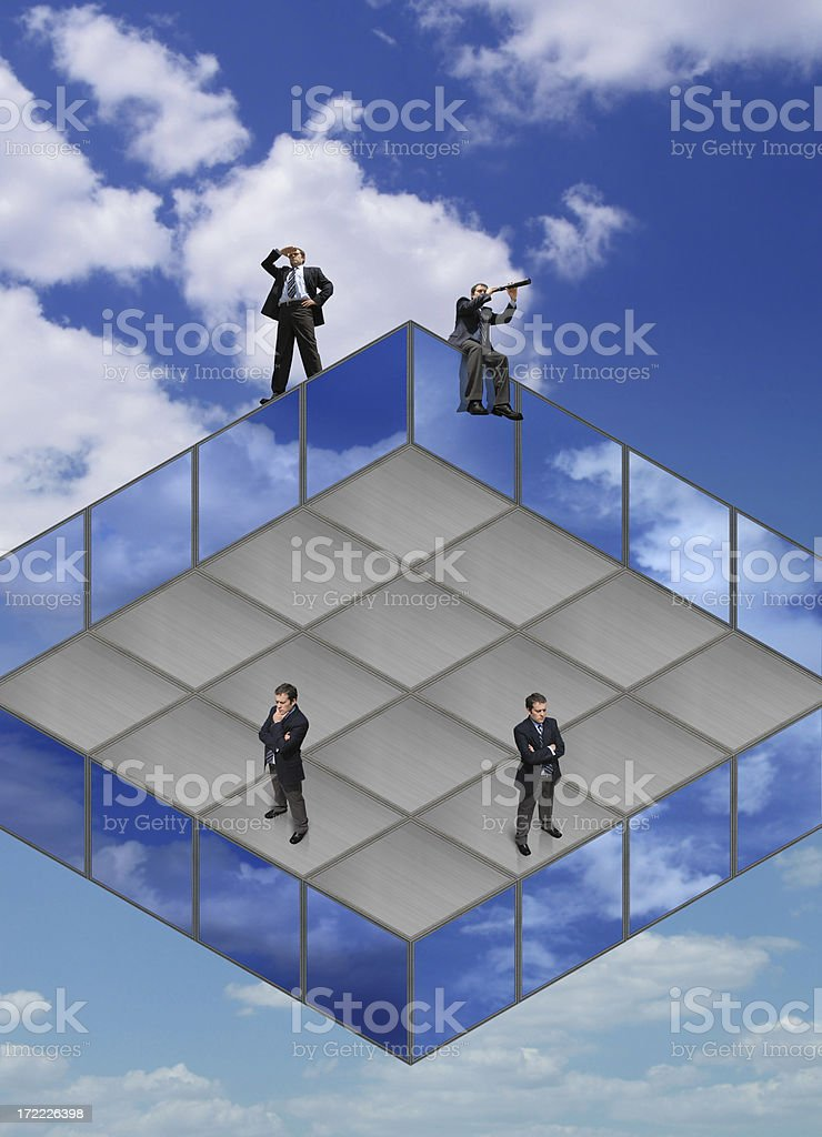 Businessmen on the Impossible Square Floor royalty-free stock photo