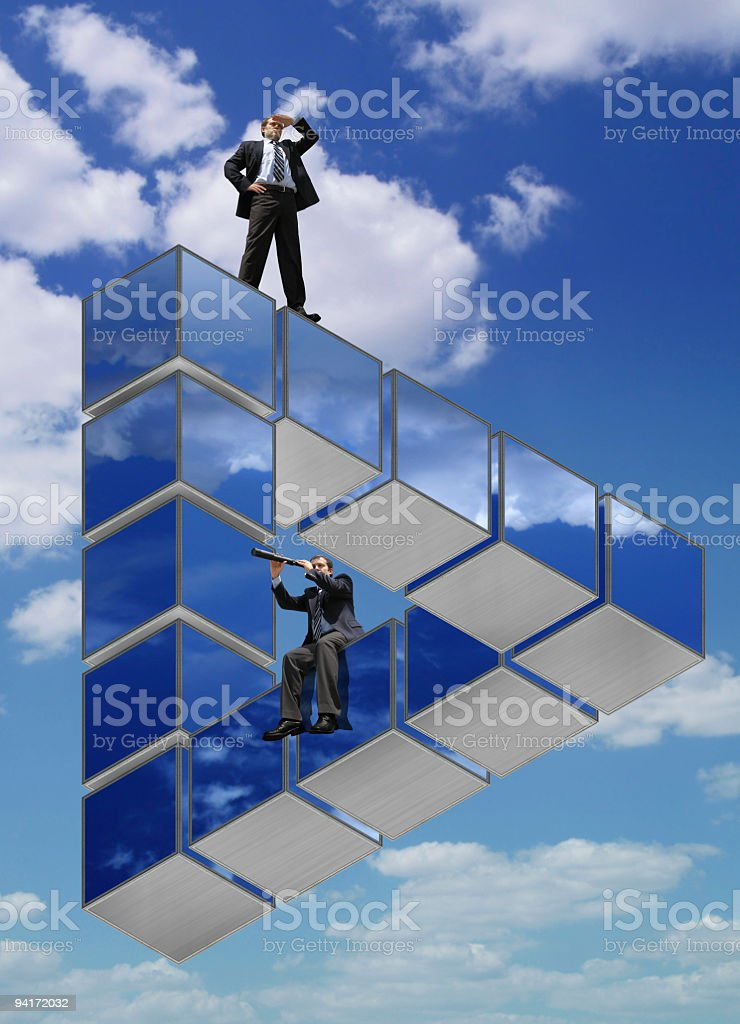 Businessmen on the Impossible Triangle (Ver.2) royalty-free stock photo