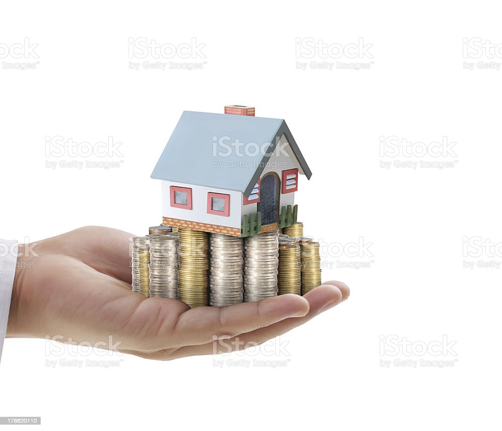 businessmen Protect Your House in hand royalty-free stock photo