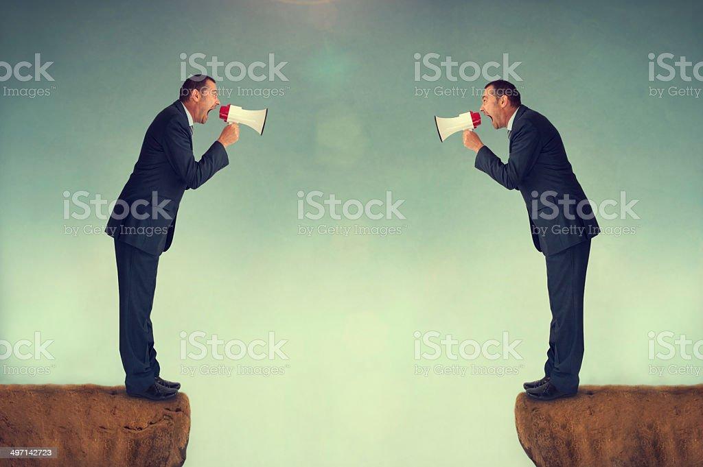 businessmen shouting stock photo