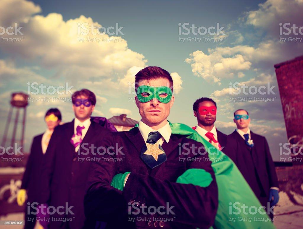Businessmen Superhero Aspirations Skyline Success Concept stock photo
