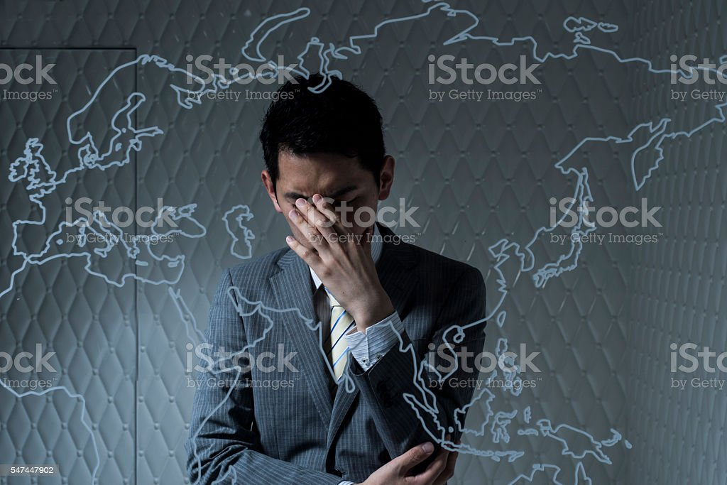 Businessmen thinking of ideas to deepen friendly relations of country stock photo