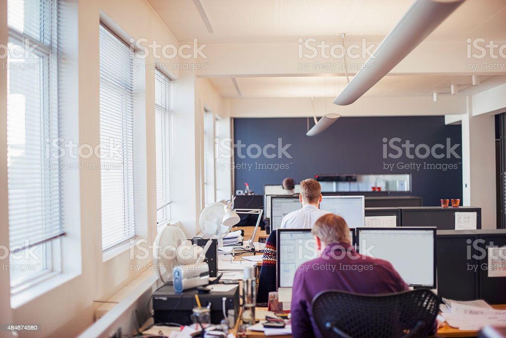 Businessmen using computer at desk in office stock photo
