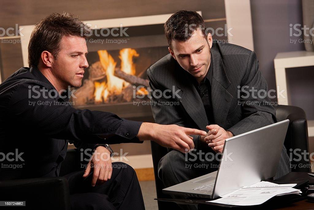 Businessmen using laptop computer royalty-free stock photo