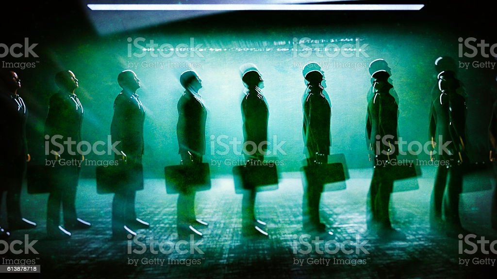 Businessmen waiting in line stock photo