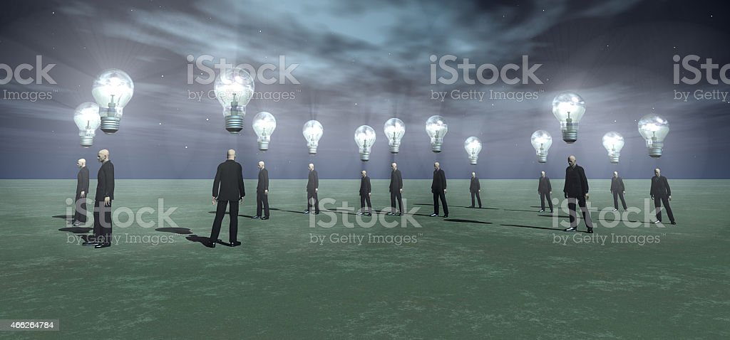 businessmen with glowing bulbs over their head's stock photo