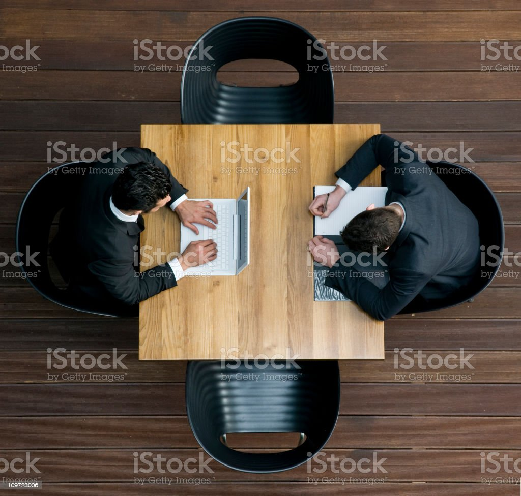 businessmen working different - high angle view royalty-free stock photo