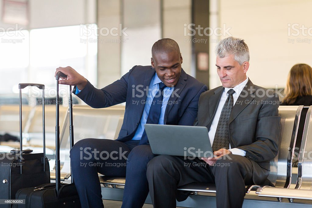 businessmen working on laptop computer stock photo
