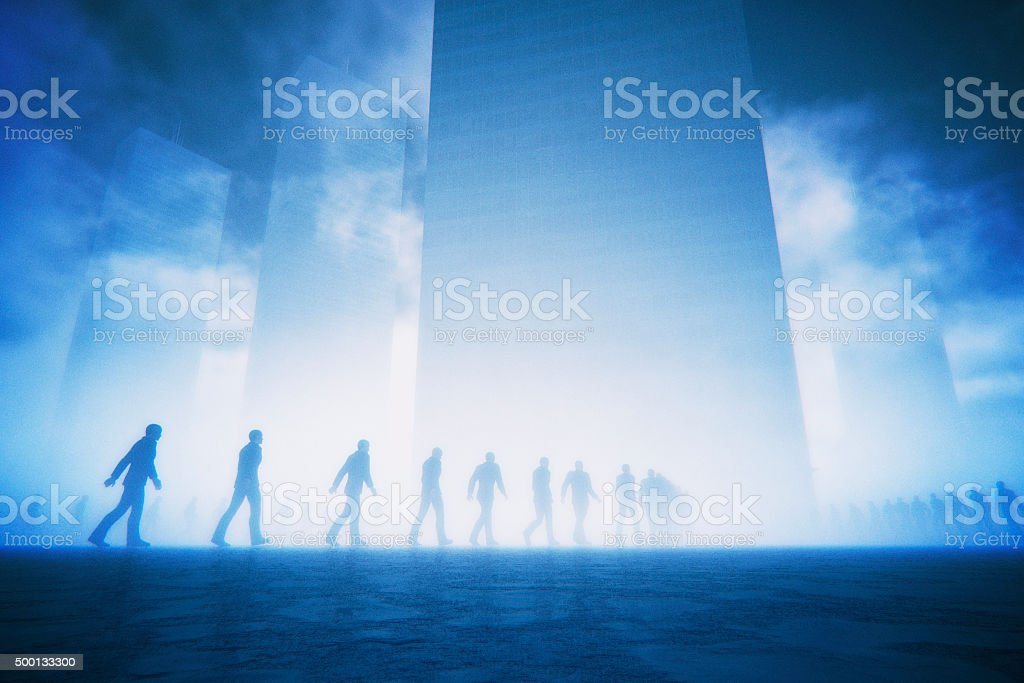 Businessmen zombies walking into corporate hives stock photo
