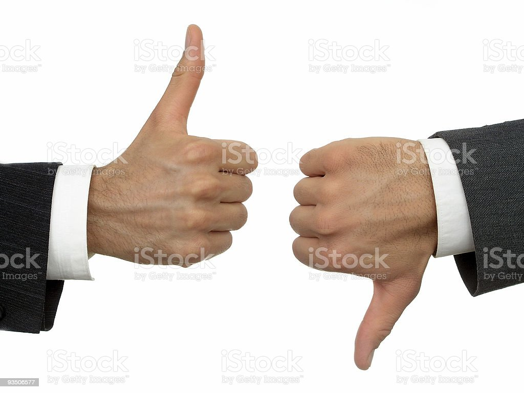 Businessmen's hands, thumbs-up, thumbs-down royalty-free stock photo