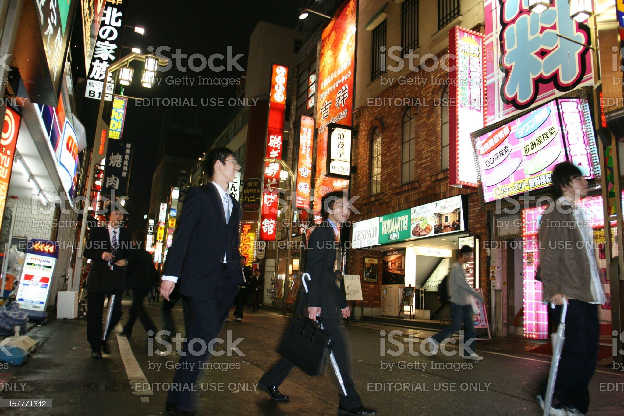 Businessmen's nightlife in Tokyo royalty-free stock photo