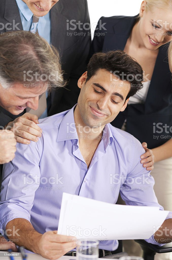 Businesspeople celebrating success royalty-free stock photo