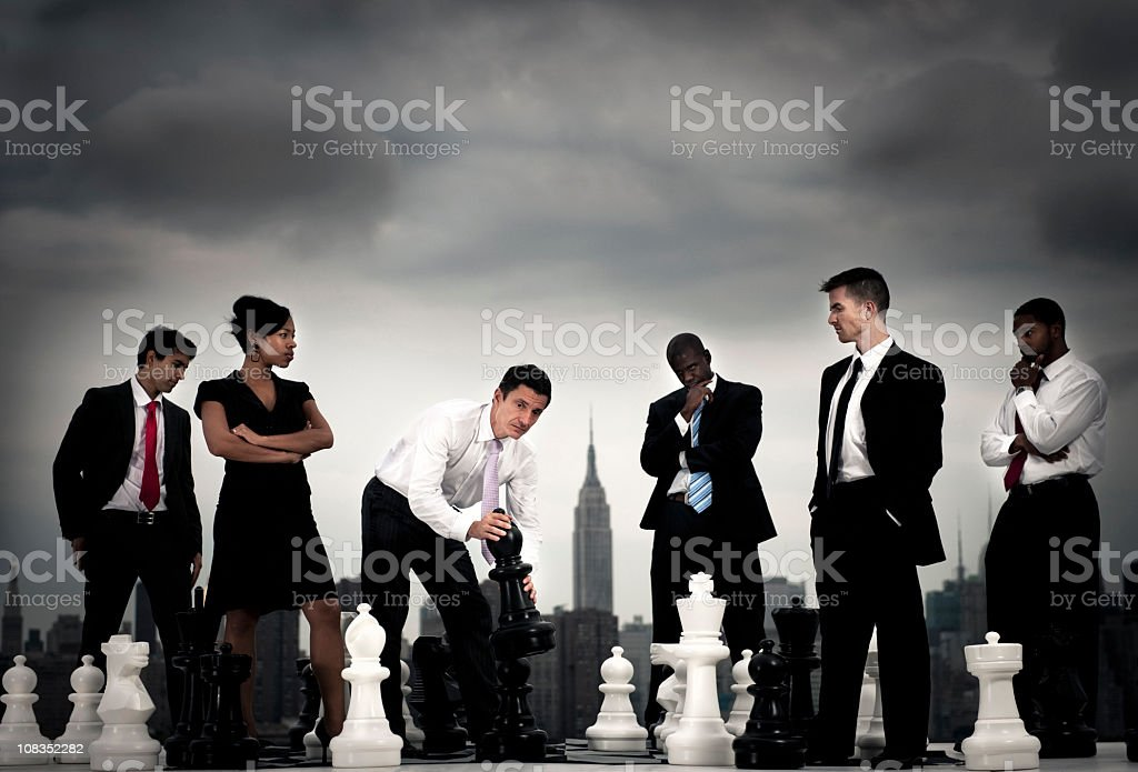 Businesspeople Chess concepts in the City stock photo