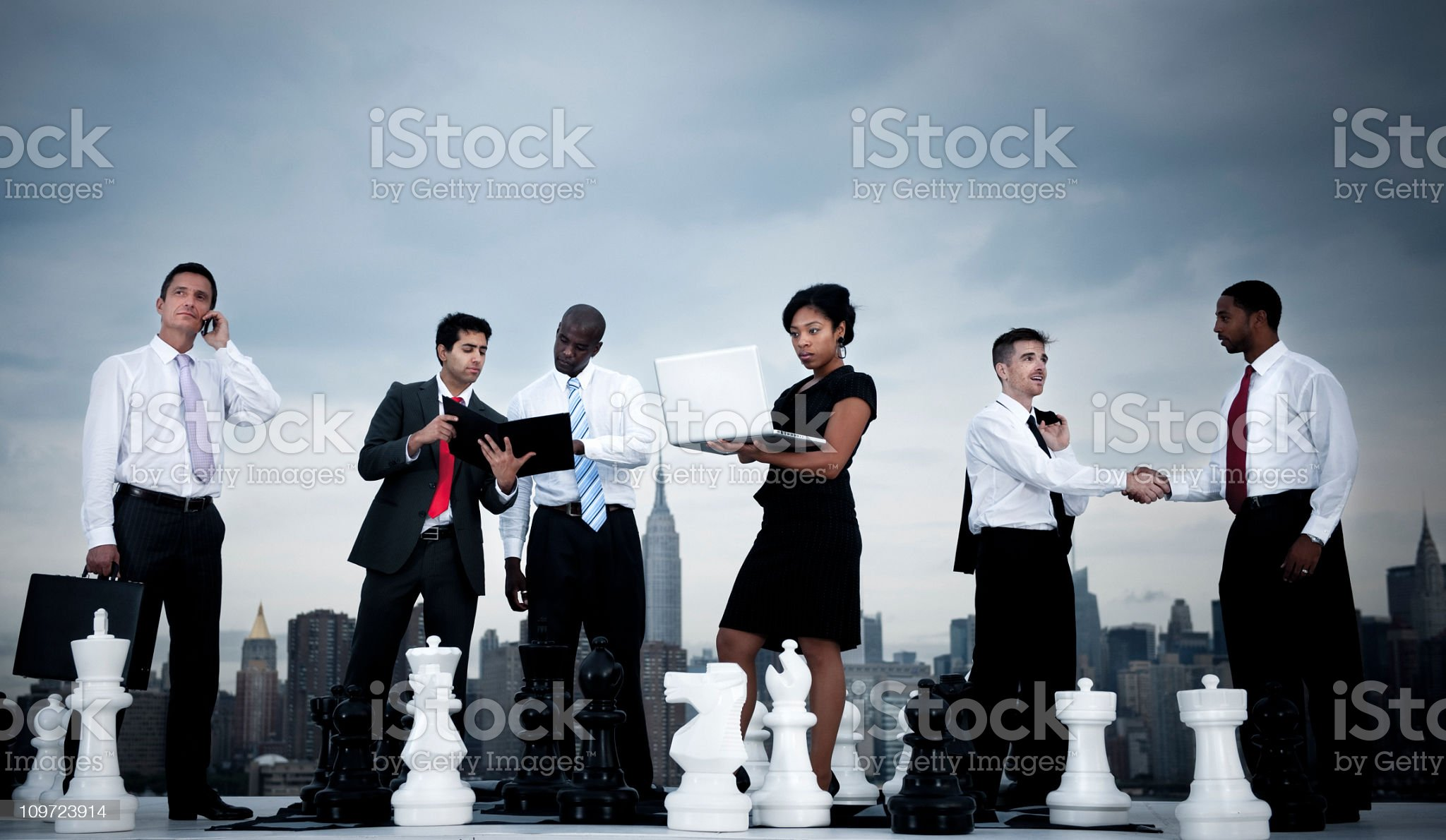 Businesspeople Chess concepts in the City royalty-free stock photo