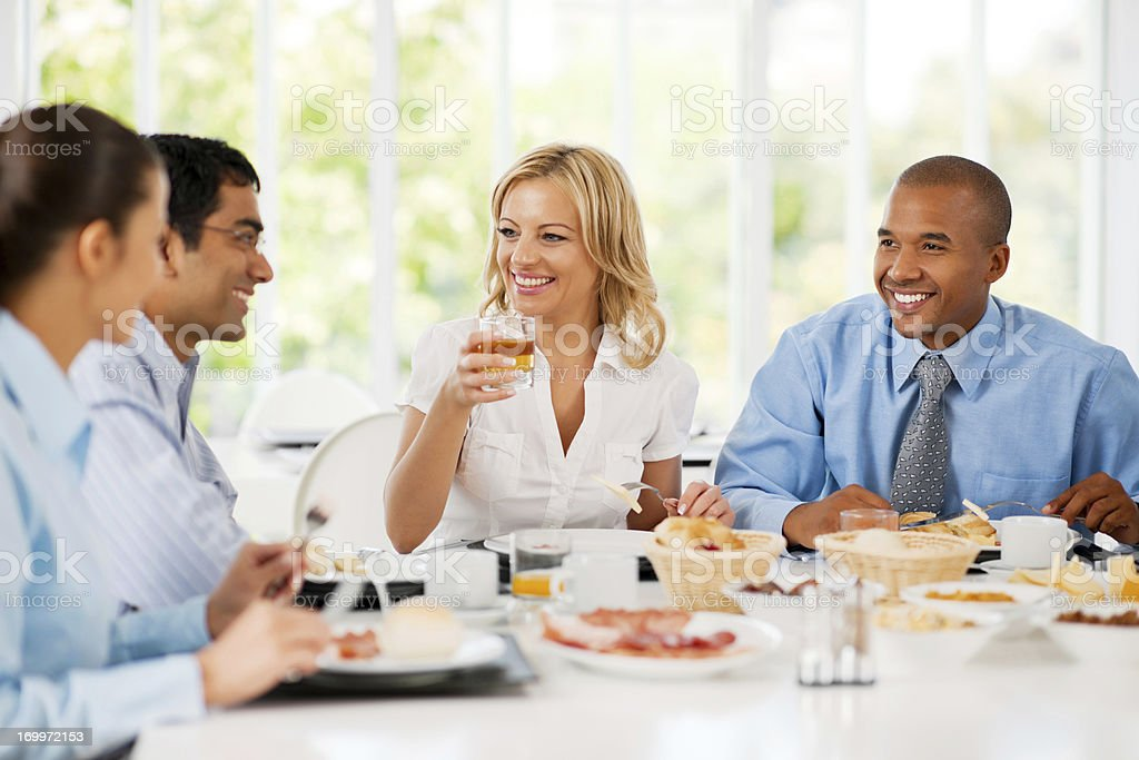 Businesspeople having a lunch break stock photo