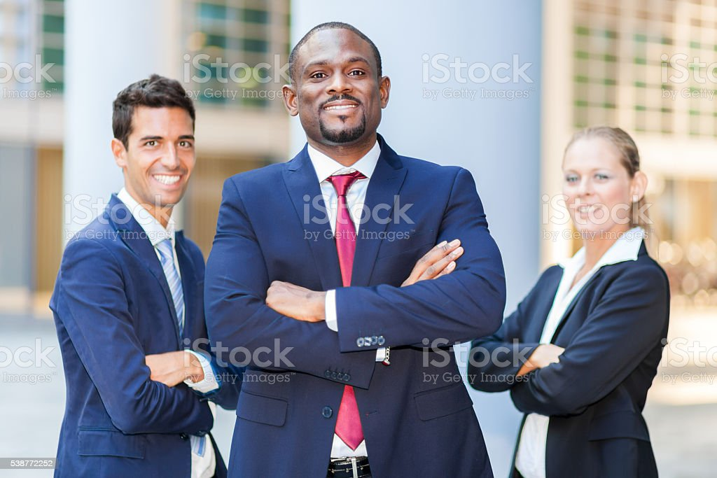 Businesspeople in a modern business environment stock photo