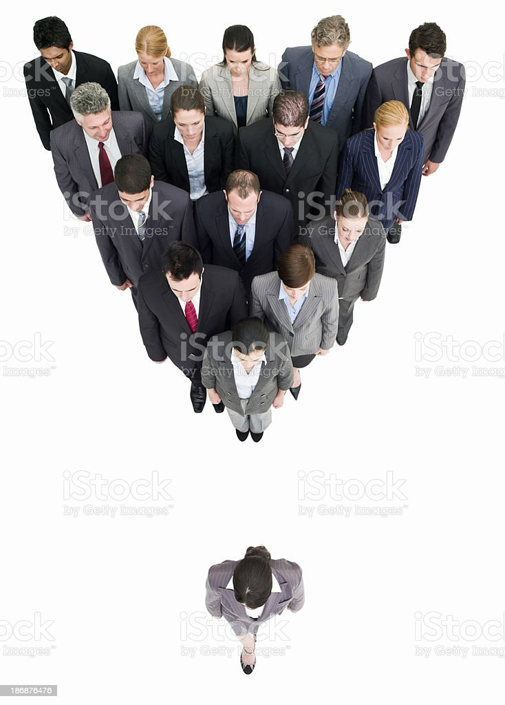 Businesspeople in a Triangle Formation - Isolated royalty-free stock photo