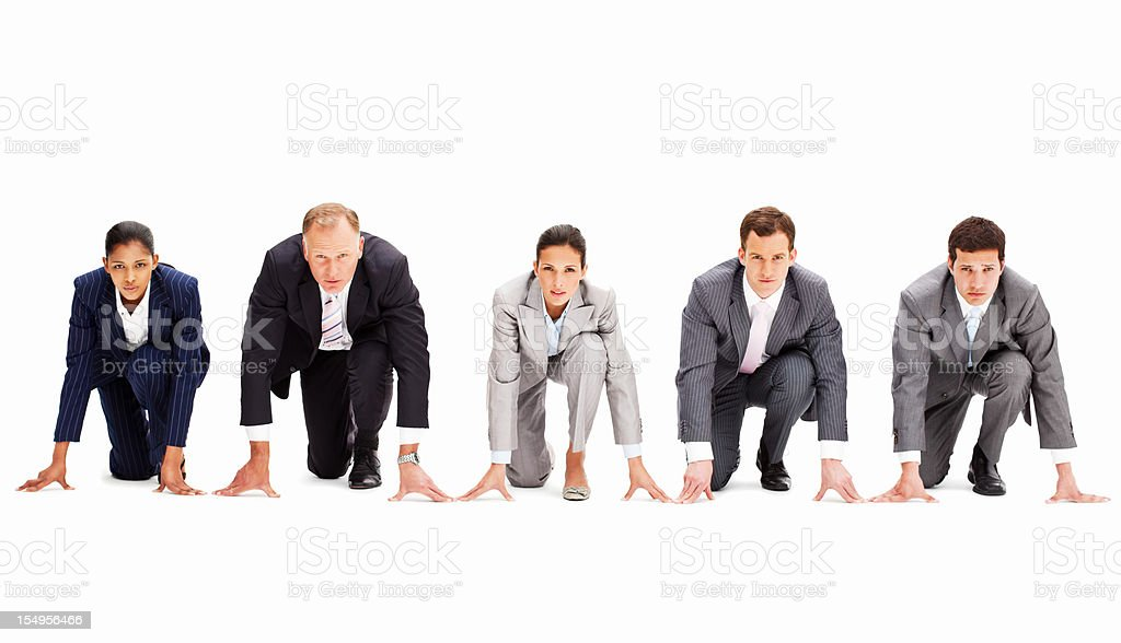 Businesspeople In Racing Starting Positions stock photo