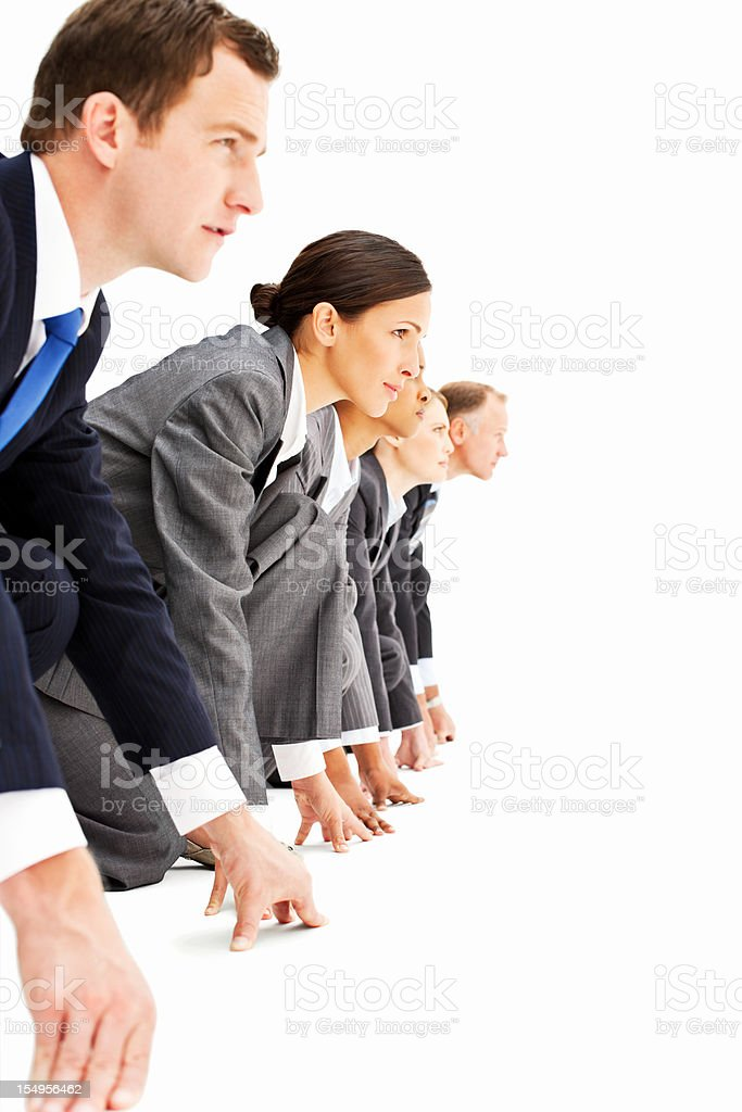 Businesspeople Lined Up For A Race royalty-free stock photo