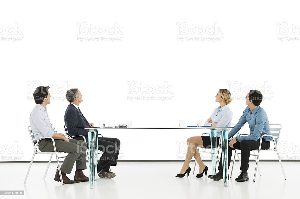 Businesspeople Looking At Screen stock photo